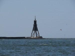 Kugelbake beim Verlassen von Cuxhaven