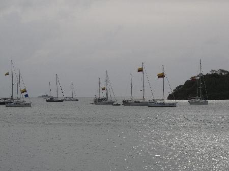 Ankunft eine Yachtflotille vom kolumbianischen Festland
