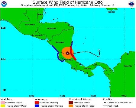 Hurrikan OTTO am 24.11.2016