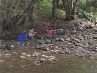 16 Waschplatz: Wäsche wird im Fluß gewaschen