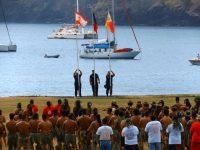 Eröffnung: die Landesflaggen werden gestezt