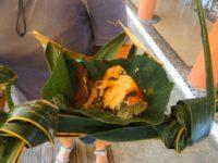 Lecker tradidionelles Essen aus dem Steinofen: Fisch, Kokosmilch, Zwiebel und Taro
