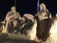 Jesus, Maria und Josef aus Sand