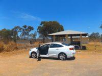 Picknickstation und unser Mietwagen