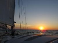Erster Sonnenuntergang auf See